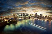 stock photo of new york night  - Amazing New York cityscape  - JPG