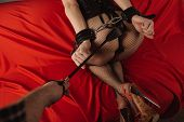 Adult Sex Games. Submissive Girl In Bondage And Mans Hand With Spanking Prepare For Punishment. poster
