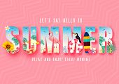 Summer 3d Realistic Stylish Modern Design Banner In Pink Patterned Background With Clipped Tropical  poster