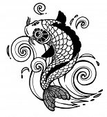 stock photo of koi tattoo  - vector koi fish - JPG