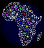 Mesh Vector Map Of Africa With Glare Effect On A Dark Background. Abstract Lines, Triangles, Light C poster