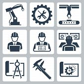 Engineering And Manufacturing Vector Icon Set In Glyph Style poster