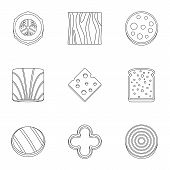 Eco Sliced Food Icon Set. Outline Set Of 9 Eco Sliced Food Icons For Web Isolated On White Backgroun poster