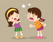 Angry Children.quarreling Kids. Angry Girl Shouting At Friend.raging Kids.children Shouting To Each  poster