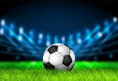 Realistic 3d Soccer Ball On The Grass Football Field With Bright Stadium Lights. Football Arena. Vec poster