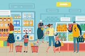 People In Store. Customer Choose Food Supermarket Family Cart Shopping Product Assortment Grocery St poster