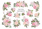 Set Of Bouquets Pale Pink And Peachy Flower Roses With Green Leaves. Floral Branch Flowers Arrangeme poster