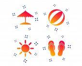Beach Holidays Icons. Ball, Umbrella And Flip-flops Sandals Signs. Summer Sun Symbol. Random Dynamic poster