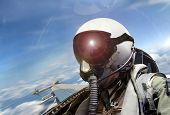 Fighter Pilot Cockpit View Under Bright Sunlight poster