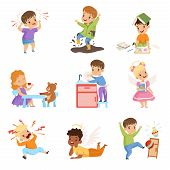 Naughty And Obedient Kids Set, Children With Good Manners And Hooligans Vector Illustration poster