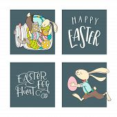 Set Of Handwritten Lettering Phrases Easter Egg Hunt, Happy Easter  And Hand Drawn Rabbits, Eggs. Ve poster