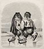picture of fancy mouse  - Ice skaters owls fanciful old illustration - JPG