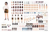 Stylish Young Woman Creation Set Or Animation Kit. Bundle Of Body Parts, Trendy Clothes, Hairstyles, poster