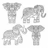 Elephant Decorative Pattern. Indian Motif Tribal Royal Design For Adults Colored Pages Vector Illust poster