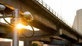 Cctv Surveillance Security Camera Video Equipment Concept - Cctv Surveillance Security Camera On Pol poster