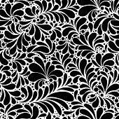 Paisley Or Damask Black Floral Seamless Pattern, Vector Ornament. Hand Drawn Seamless Pattern. Damas poster