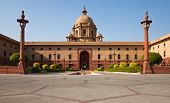image of rashtrapati  - One of the many entrances to Rashtrapati Bhavan the Presidential House in New Delhi India - JPG