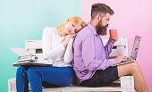 Increase Your Productivity Using Modern Technology. Technical Progress. Woman Sleep Retro Typewriter poster