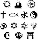 Religion Symbols With Drop Shadows