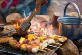 Close Up Grilling Barbecue In The Campground At Summer Camp Travel, Skewers Of Pork And Beef Fillet  poster