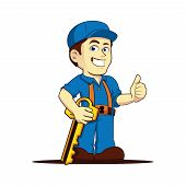 Friendly Cool Locksmith Thumbs Up Cartoon Character poster