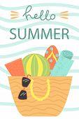 Cute Poster Of Summertime. Vector Design Concept For Summer. Hello Summer. poster