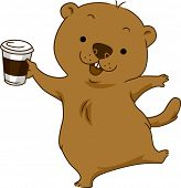 image of groundhog day  - Illustration of a Groundhog Holding a Cup of Coffee - JPG