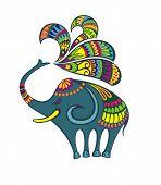 Cute Elephant Vector Illustration. Elephant Animal Illustration poster