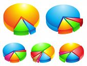 picture of subdivision  - 5 colorful 3d pie graphs isolated on white - JPG