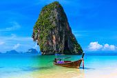 stock photo of boat  - Summer beach tropical landscape - JPG