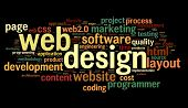 image of descriptive  - Web design concept in word tag cloud on black background - JPG