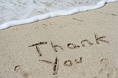 stock photo of gratitude  - Concept or conceptual Thanksgiving day holiday text handwritten in sand on an exotic beach as metaphor to America - JPG