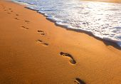 stock photo of footprint  - beach - JPG