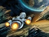 stock photo of spaceships  - Futuristic spaceship traveling over a rocky alien planet - JPG
