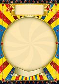 Vintage blue and yellow poster. A poster with a large circle frame for your advertising
