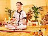 picture of deportation  - Bamboo massage at spa and woman - JPG