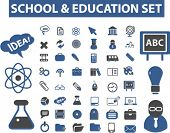 school & education icons set, vector