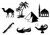 stock photo of aladdin  - Arabian icons - JPG