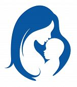 stock photo of nurture  - mother and baby vector silhouette - JPG