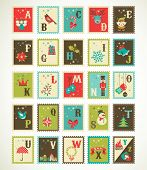Christmas alphabet with cute stamp xmas icons and illustrations