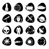 Vector icons on the theme of outer space