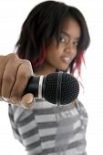 Young Girl Showing Microphone