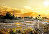 image of reactor  - Nuclear reactor and smoke stack in afternoon - JPG