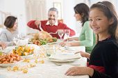 stock photo of turkey dinner  - Family All Together At Christmas Dinner - JPG