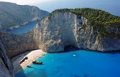 stock photo of shipwreck  - boats and shipwreck beach at Zakynthos island - JPG