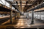 stock photo of low-light  - Abandoned Old Vehicle Repair Station - JPG