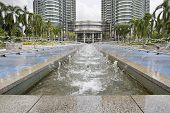 stock photo of klcc  - Water Fountain at KLCC Kuala Lumpur City Center in Malaysia - JPG