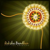 picture of rakshabandhan  - beautiful golden rakhi for hindu rakshabandhan festival - JPG