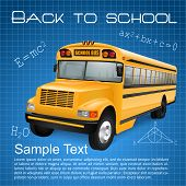 picture of driving school  - Realistic school bus on blue checkered background with inscriptions and formulas - JPG