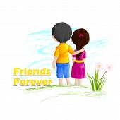 picture of  friends forever  - vector illustration of friends forever for Happy Friendship Day - JPG